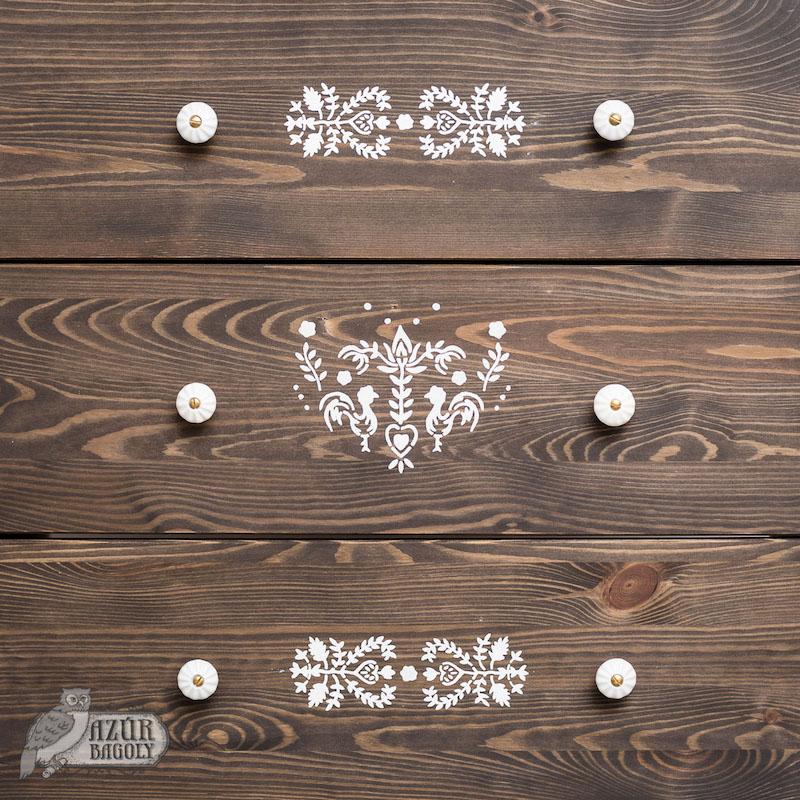 bútor - stencilezés - vintage - Azúr Bagoly