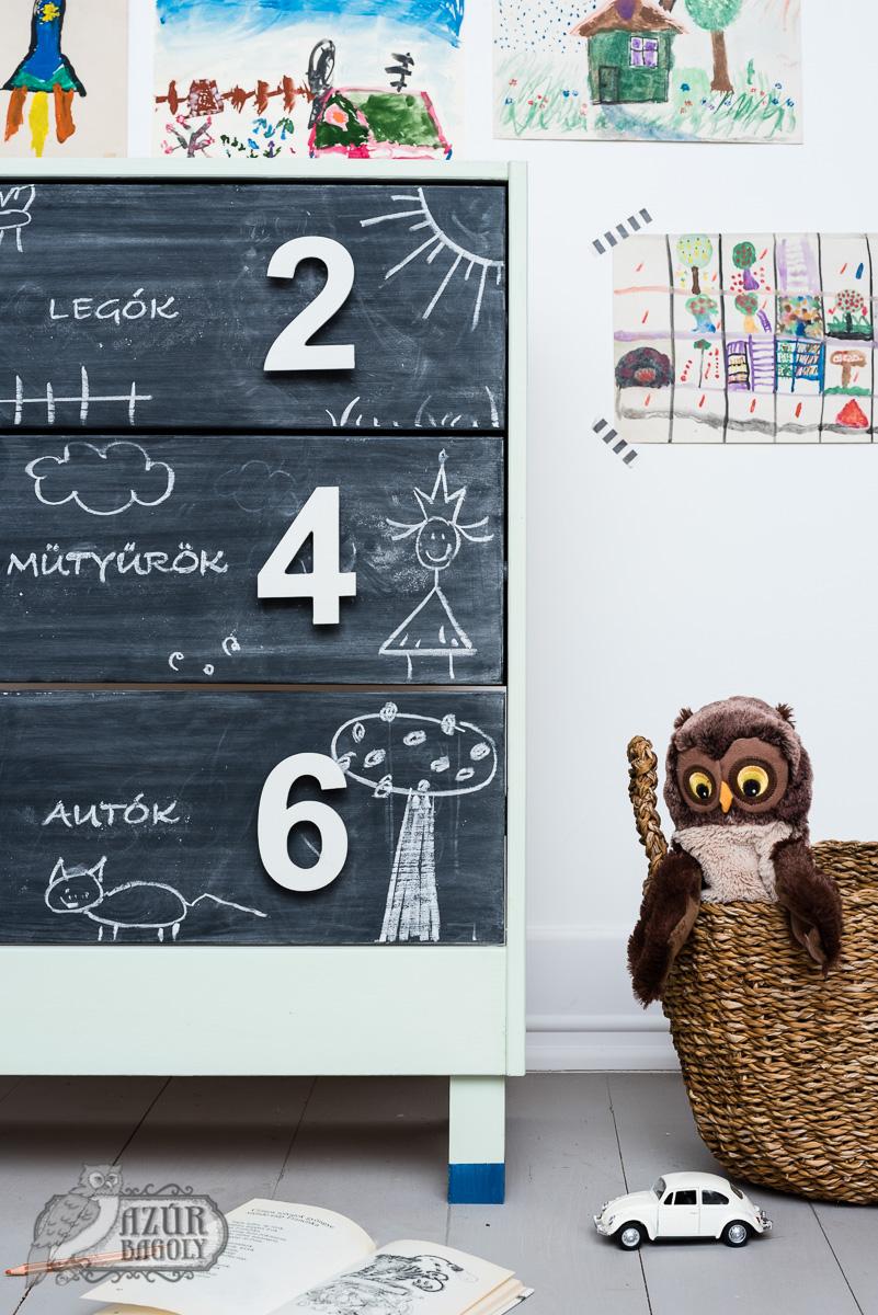 IKEA-hack - gyerekbútor - RAST komód - Azúr Bagoly