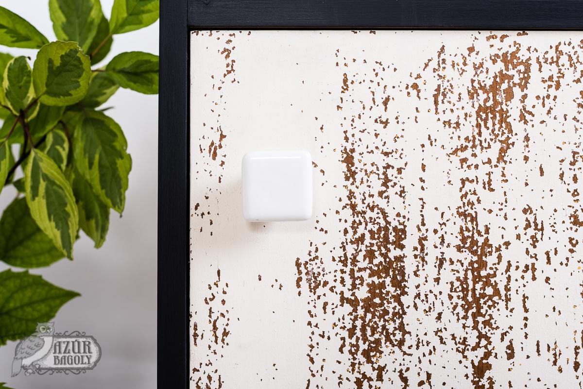 bútor felújítás ötletek - fekete-fehér komód rusztikus felülete - Azúr Bagoly Tejfesték