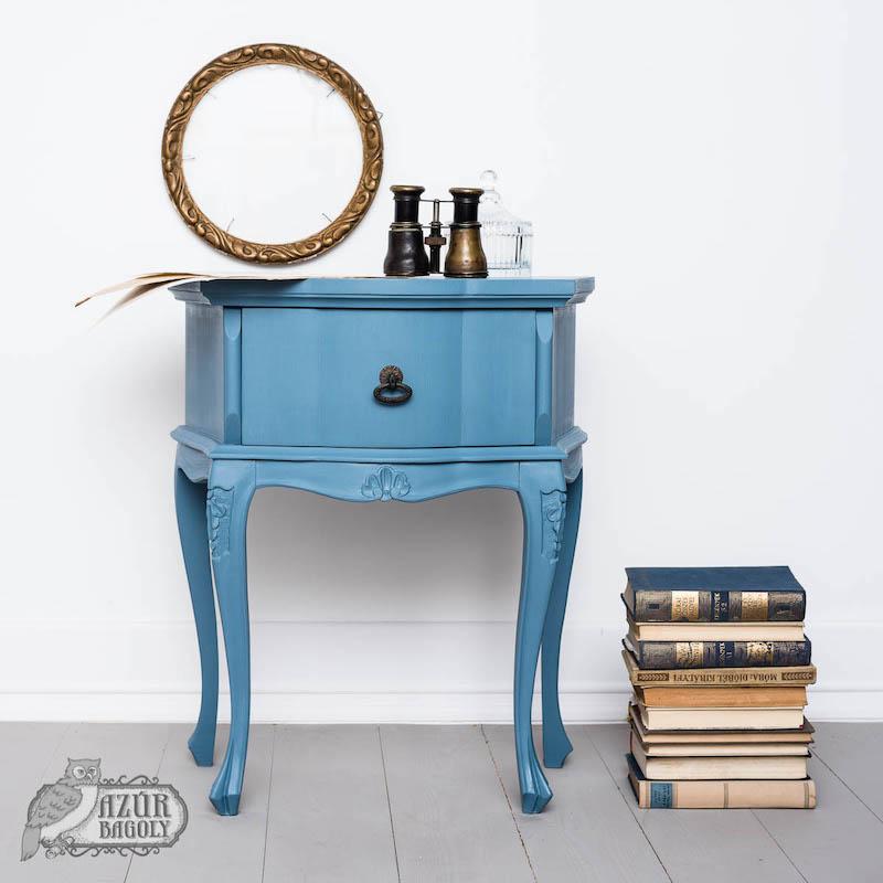 bútorfelújítás vintage stílusban kék színű bútorfestékkel - Azúr Bagoly Tejfesték