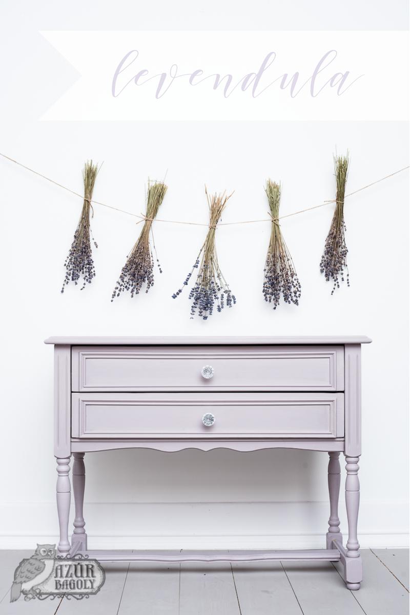 bútorfelújítás vintage stílusban lila színű bútorfestékkel - Azúr Bagoly Tejfesték
