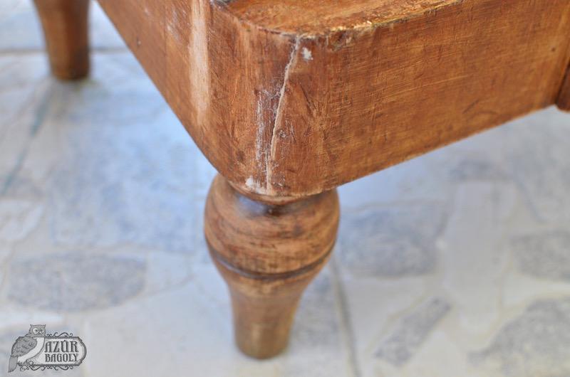 a fatapasszal javított részek szuperül festhetőek a bútoron