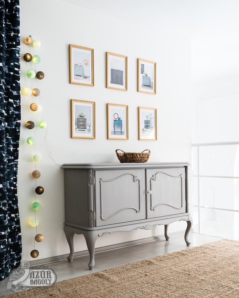 egy régi bútor felújítása egyszerű szürke fedőfestéssel: stílusos és visszafogott