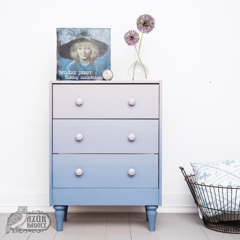 ombre - bútorfestés - IKEA-hack - RAST komód - Azúr Bagoly