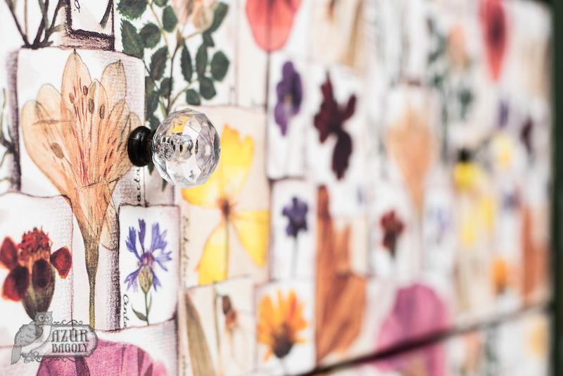 virágmintás bútor dekupázs-technikával - Azúr Bagoly