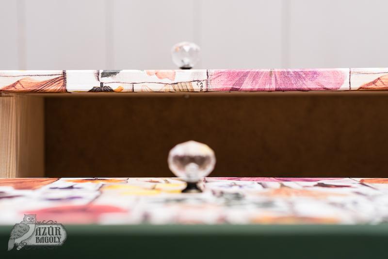 részletfotó egy átalakított IKEA-komódról - Azúr Bagoly