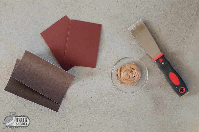 a bútorfestéshez szükséges eszközök: csiszolópapír, fatapasz, spakli