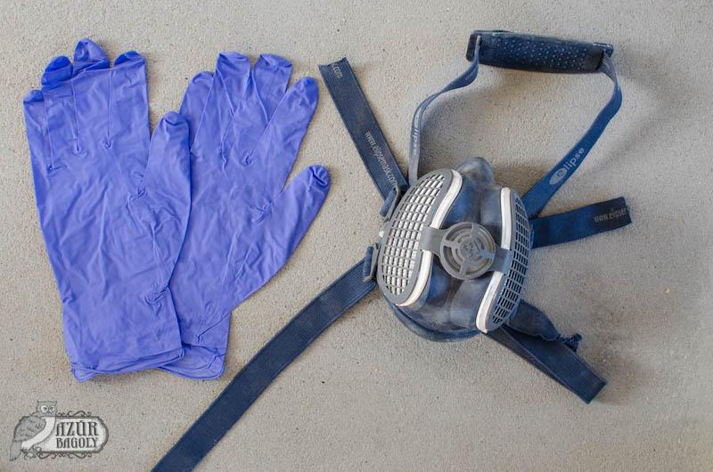 bútorfestéshez szükséges védőfelszerelések: kesztyű és maszk