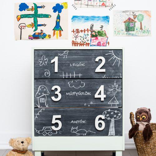 bútor felújítás ötletek – IKEA-hack – RAST komód – gyerekbútor – Azúr Bagoly