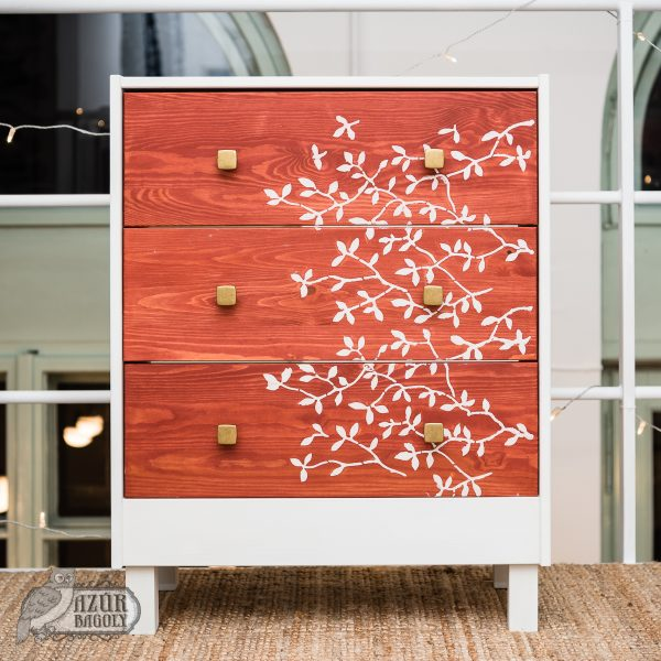 bútorfestő workshop - Azúr Bagoly - IKEA-hack - stencilezés
