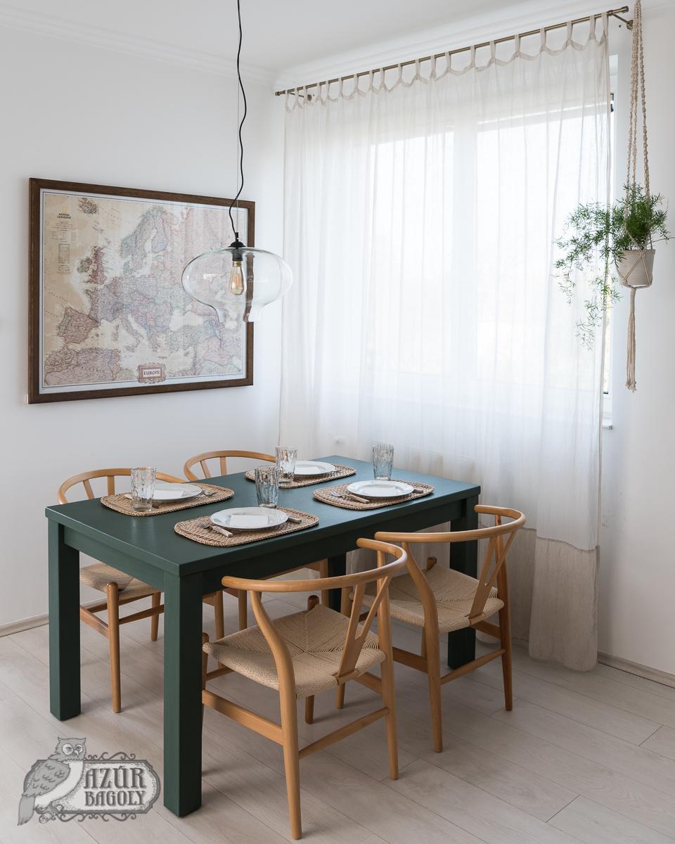 bútorfestés - tejfesték - Azúr Bagoly - étkezőasztal