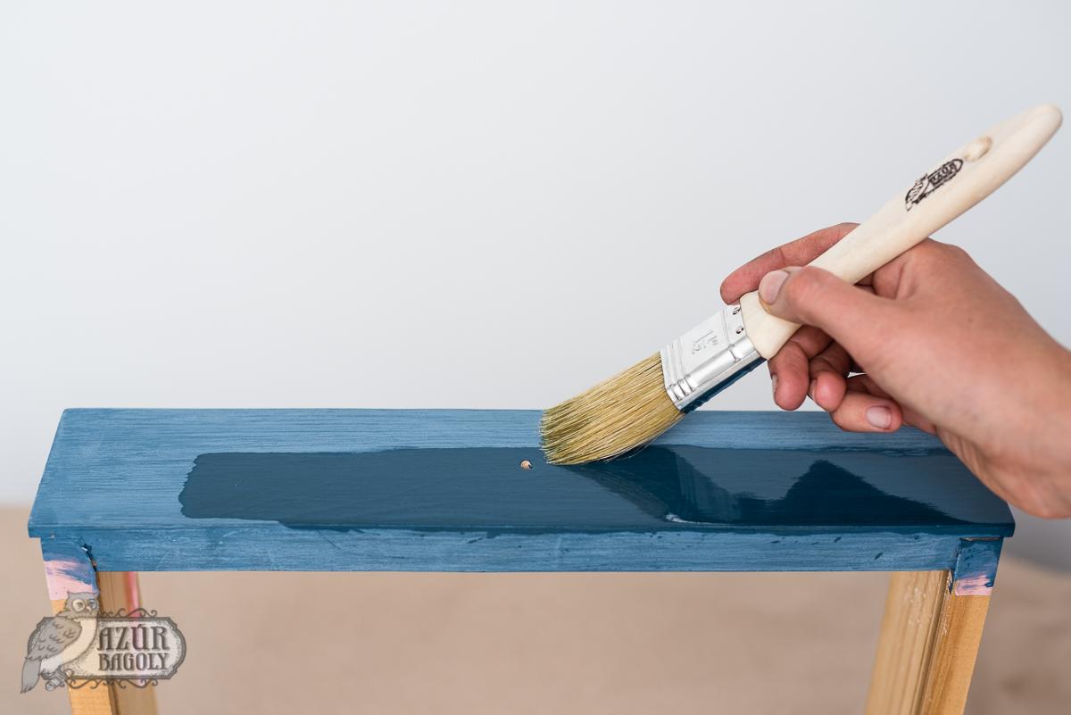 lakkozott bútor festése - Azúr Bagoly - kenderolaj