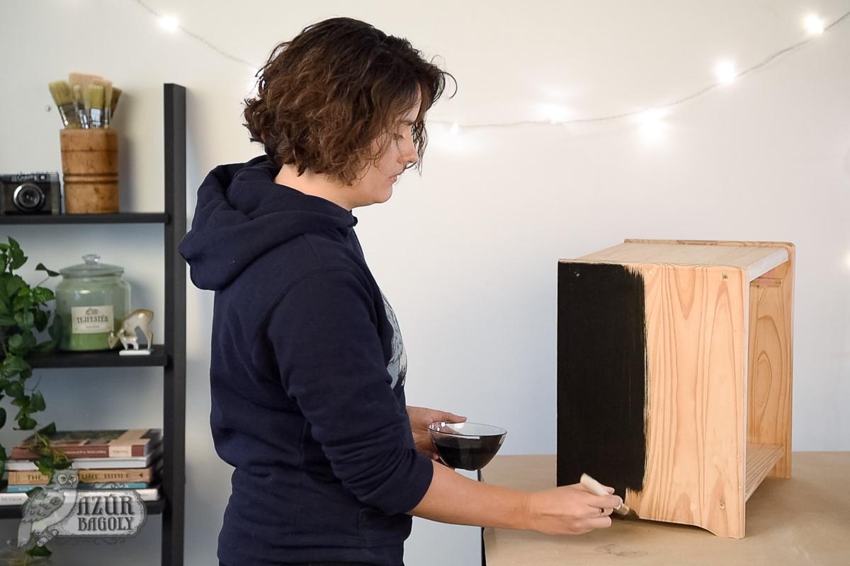 lakkozott bútor festése - Azúr Bagoly Tejfesték