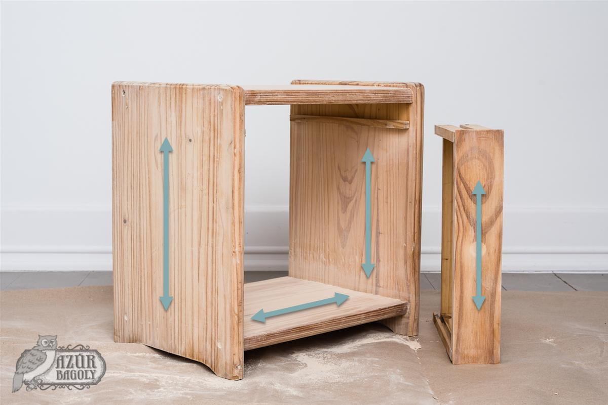 szálirány szemléltetése egy bútoron – bútorfestés-iskola – Azúr Bagoly