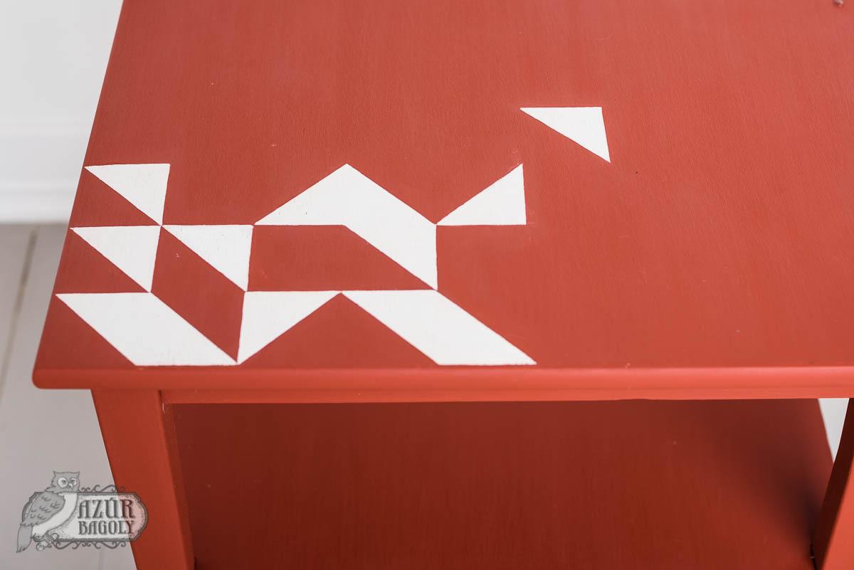 bútorfestés – bútorfelújítás – geometrikus minta – Azúr Bagoly Tejfesték