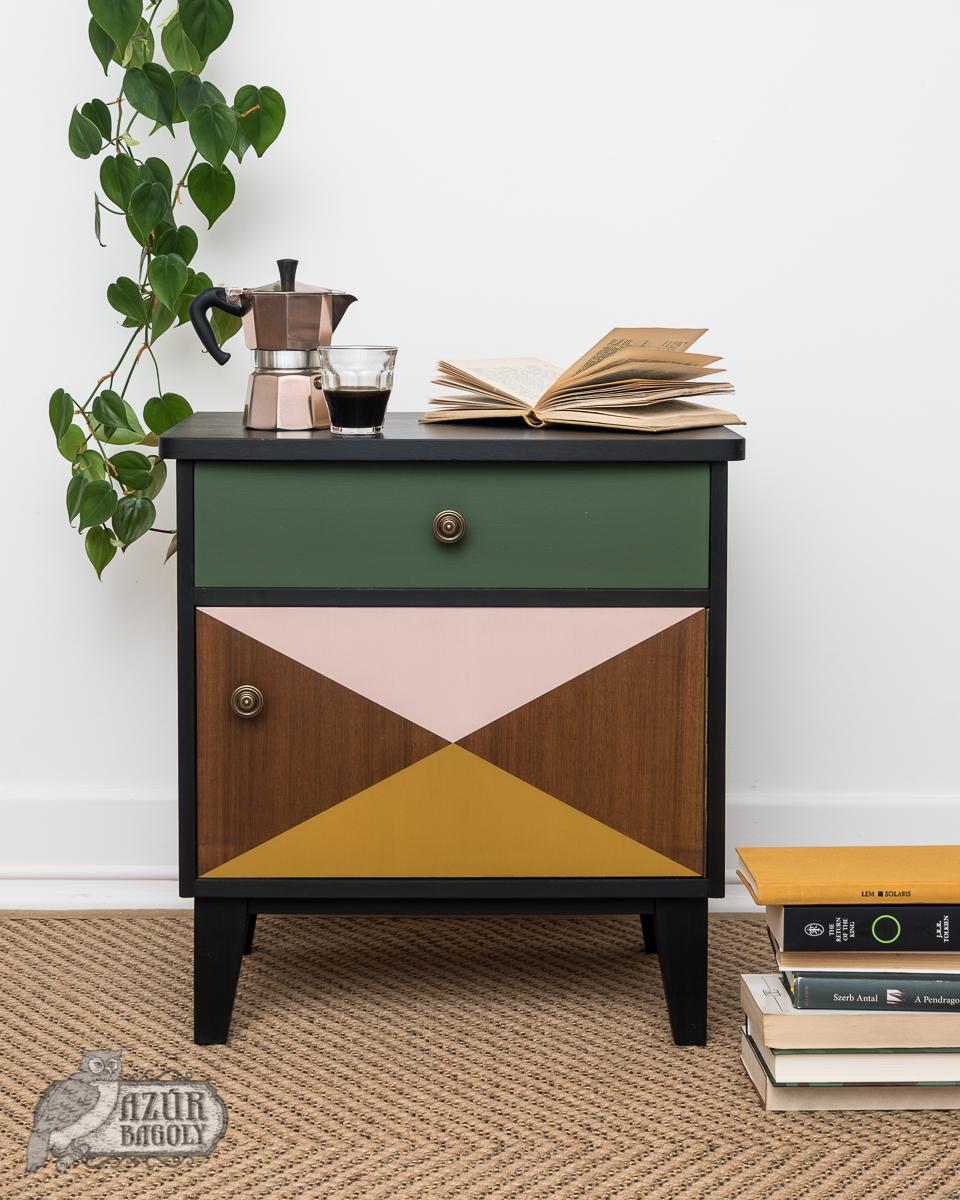 bútorfestés – retró – geometrikus minta – Azúr Bagoly Tejfesték