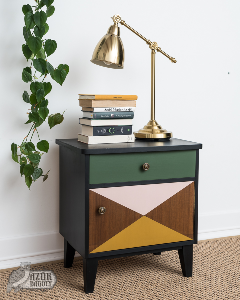 bútorfestés – retró – lakkotott bútor – Azúr Bagoly Tejfesték